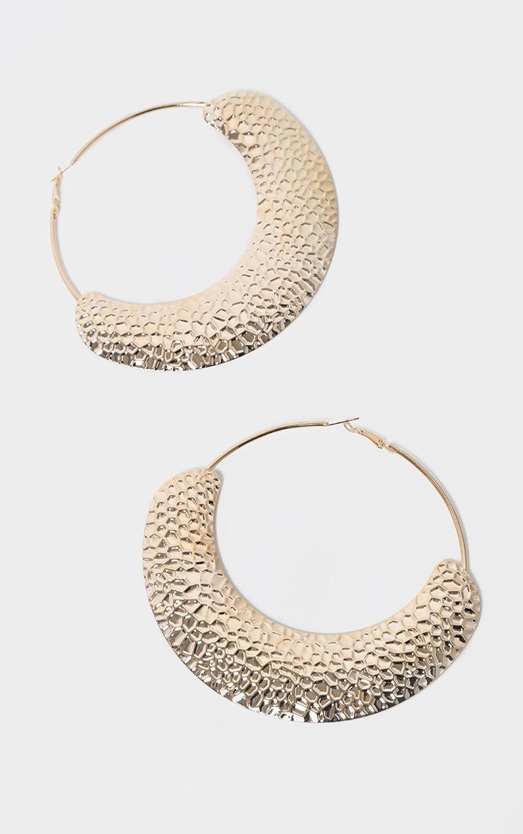 Gold Oversized Hammered Hoop Earrings 2