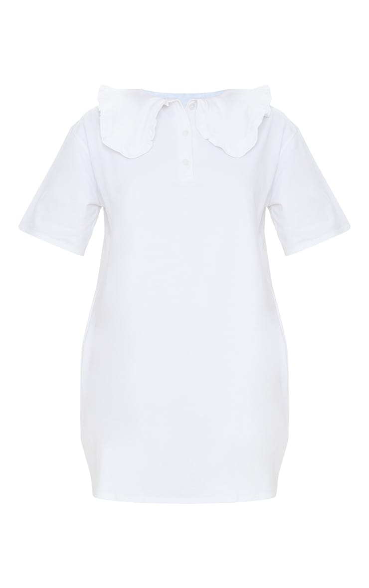 White Cotton Frill Collar Short Sleeve T Shirt Dress 5
