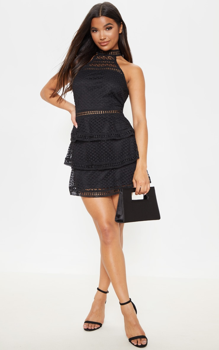 Black Lace Panel Tiered Mini Dress 1