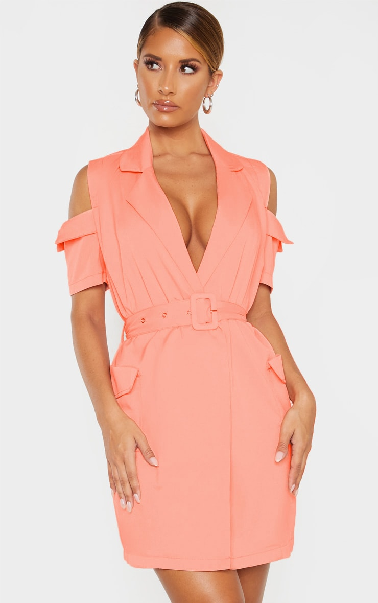 Coral Cold Shoulder Utility Blazer Dress 1