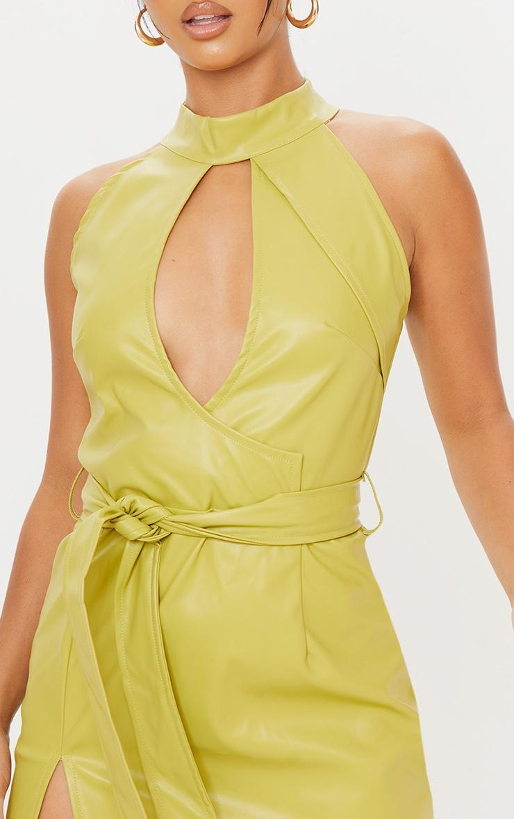 Petite Green High Neck Cut Out Wrap PU Mini Dress 4