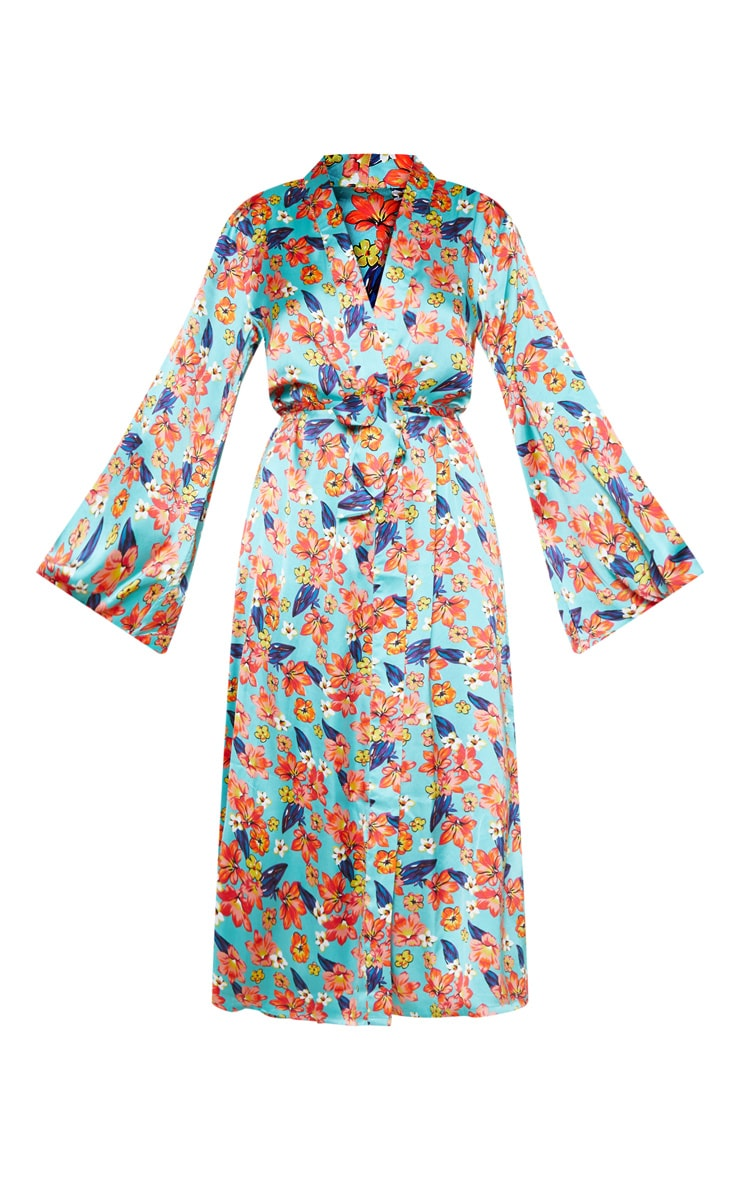 Blue Bright Floral Satin Robe 3