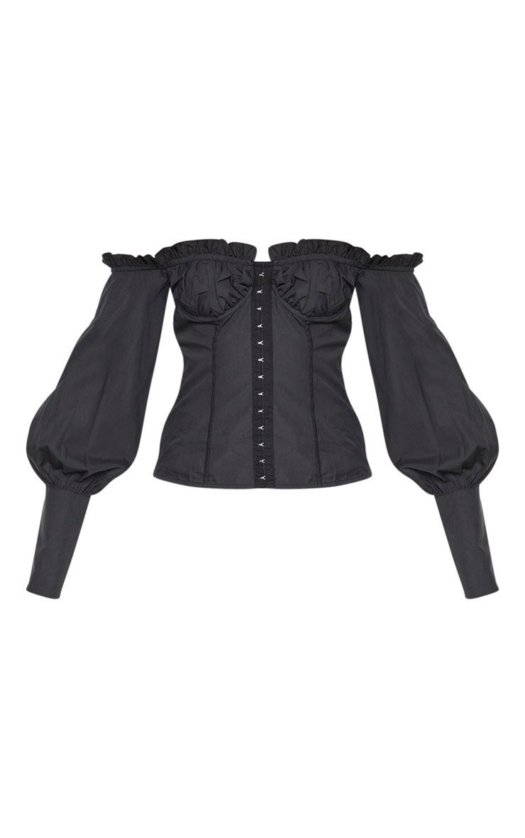 Black Woven Frill Bardot Hook And Eye Shirt 3