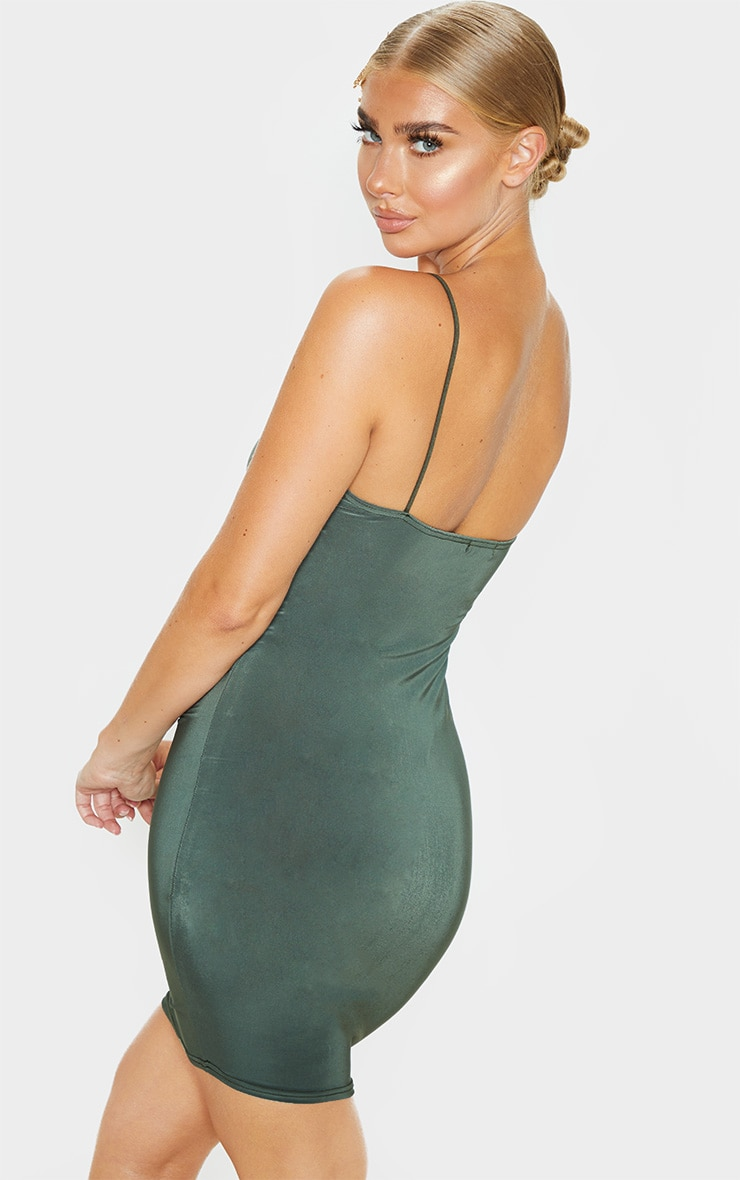 Khaki Slinky Spaghetti Strap Bodycon Dress 2