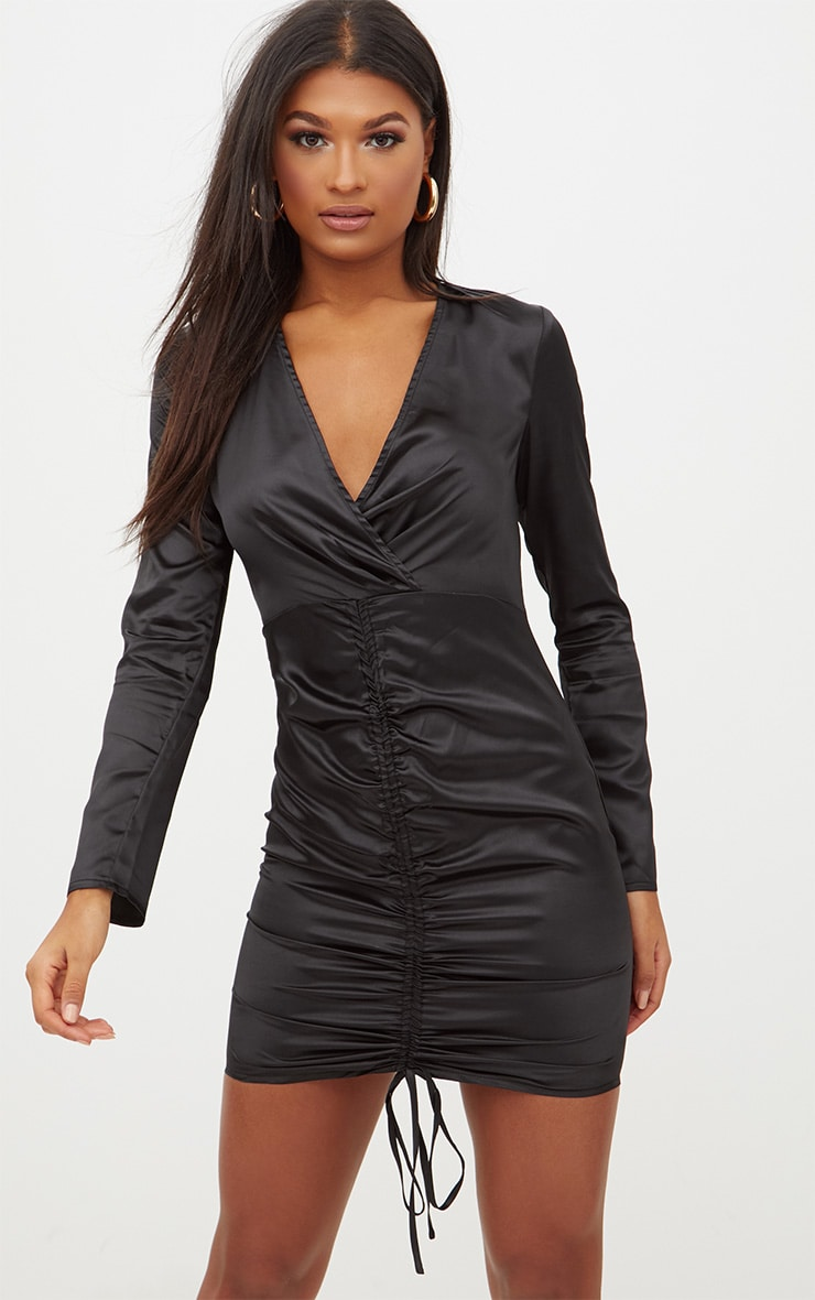 Black Satin Plunge Ruched Front Bodycon Dress 1