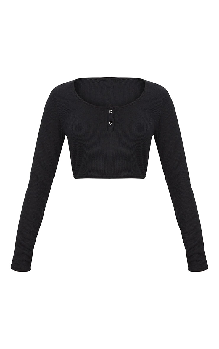 Black Rib Popper Front Long Sleeve Crop Top  3