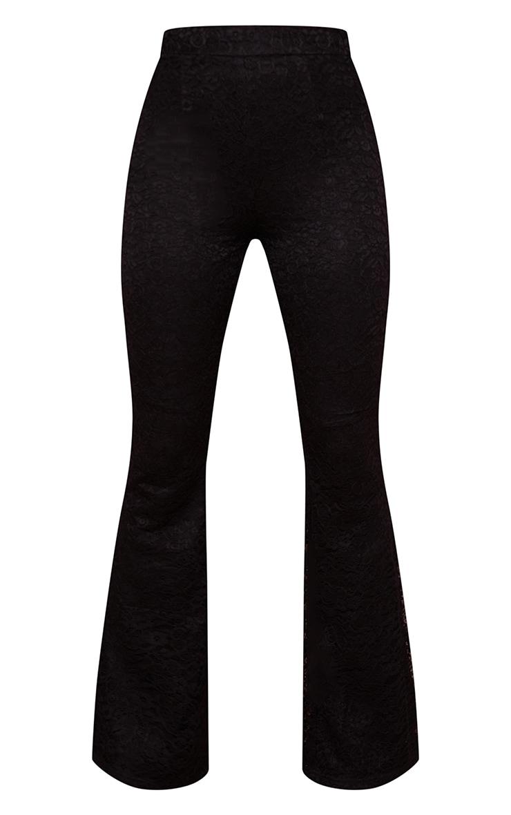 Pantalon flare noir en maille et dentelle à taille haute 5
