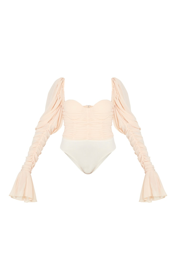 Nude Chiffon Puff Extreme Ruched Sleeve Bodysuit 5