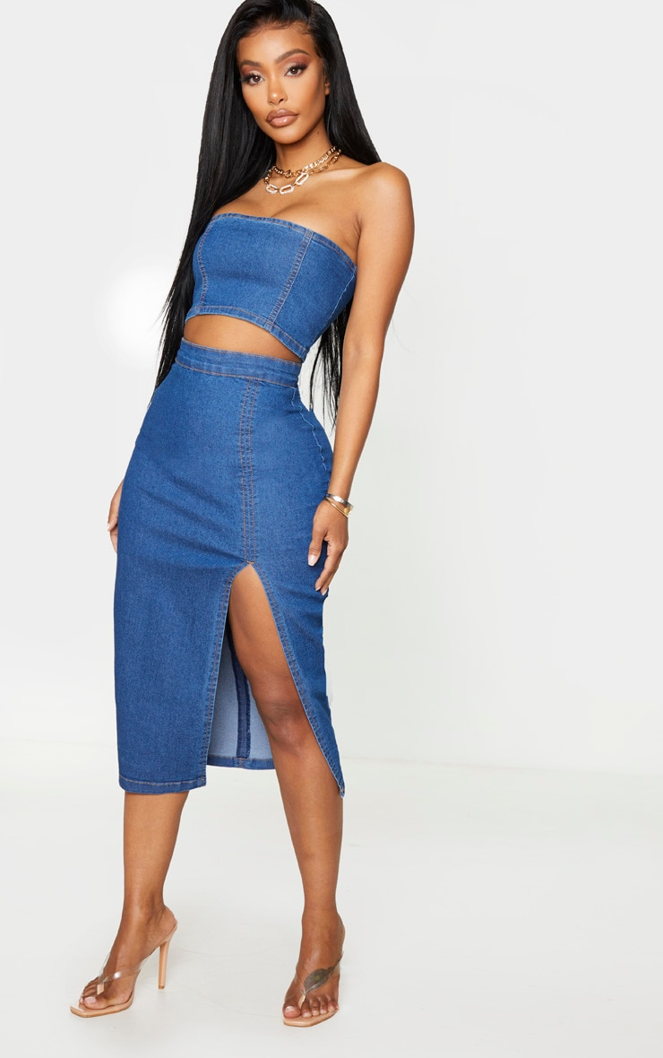 Shape Mid Blue Wash Denim Split Front Midi Skirt 1