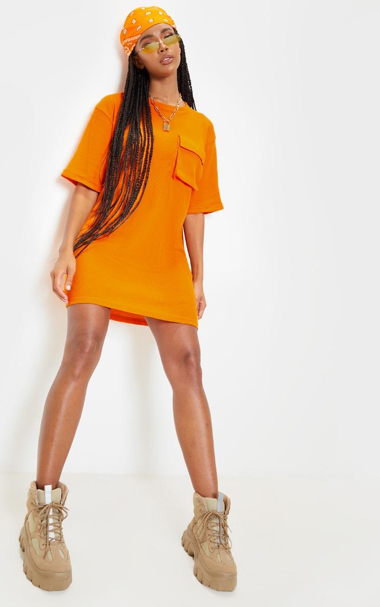 Bright Orange Waffle Pocket Front T Shirt Dress 4