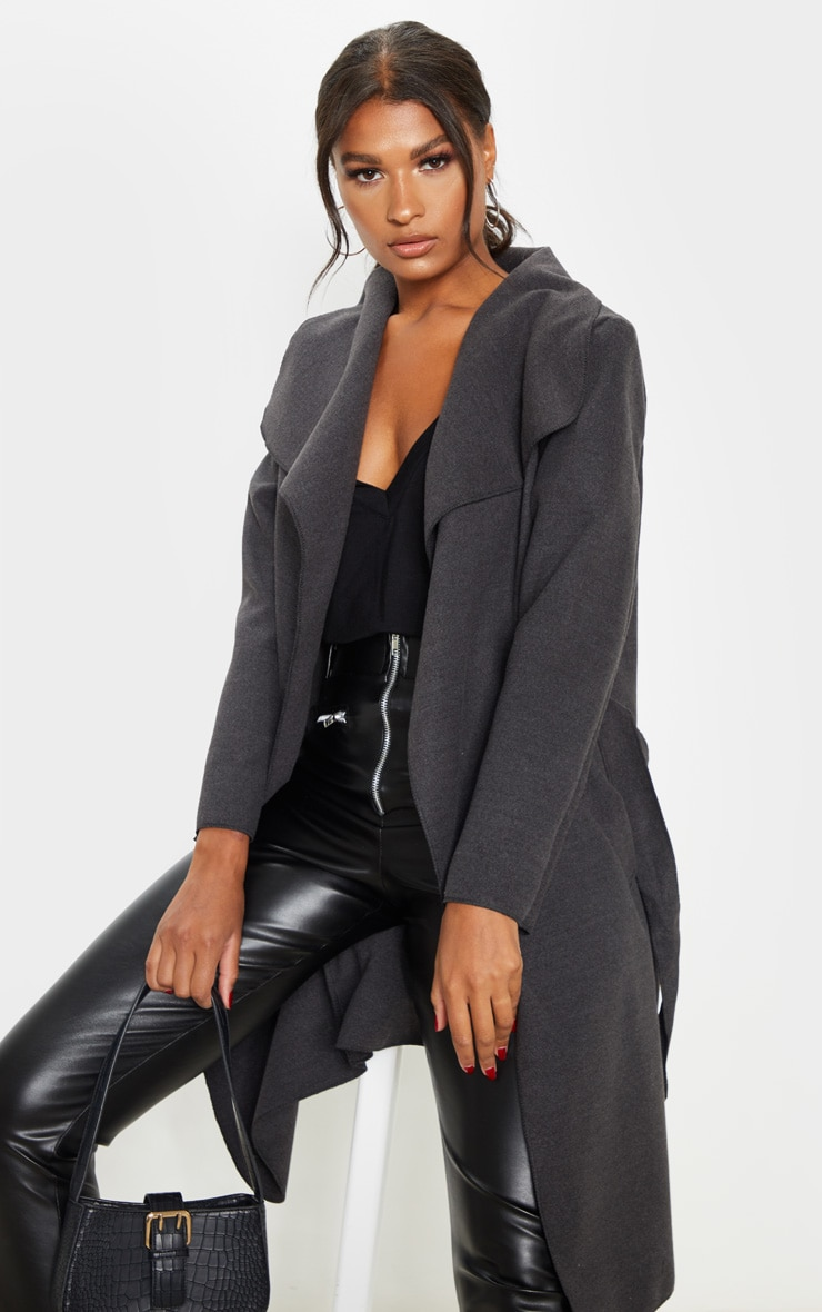 Charcoal Oversized Waterfall Belted Coat  5