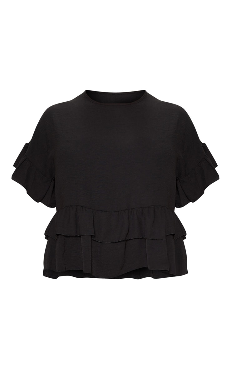 Plus Black Frill Detail Blouse  3