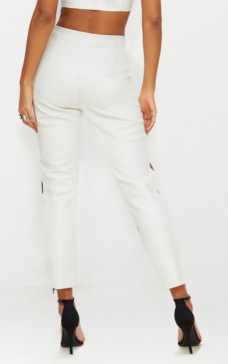 White Biker Cigarette Trousers 4