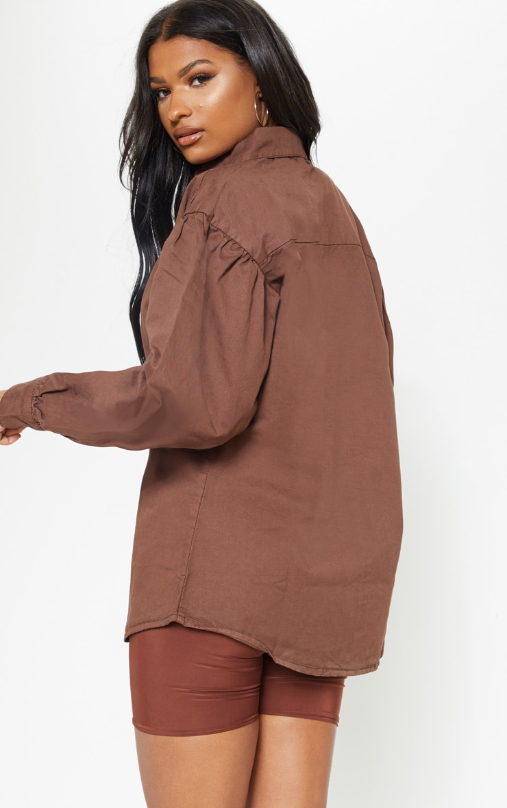 Chocolate Balloon Sleeve Denim Shirt  2