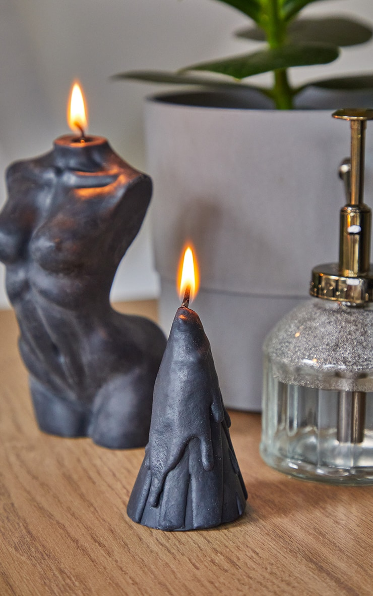 Black Dripping Cone Scented Soy Wax Candle 8cm 1