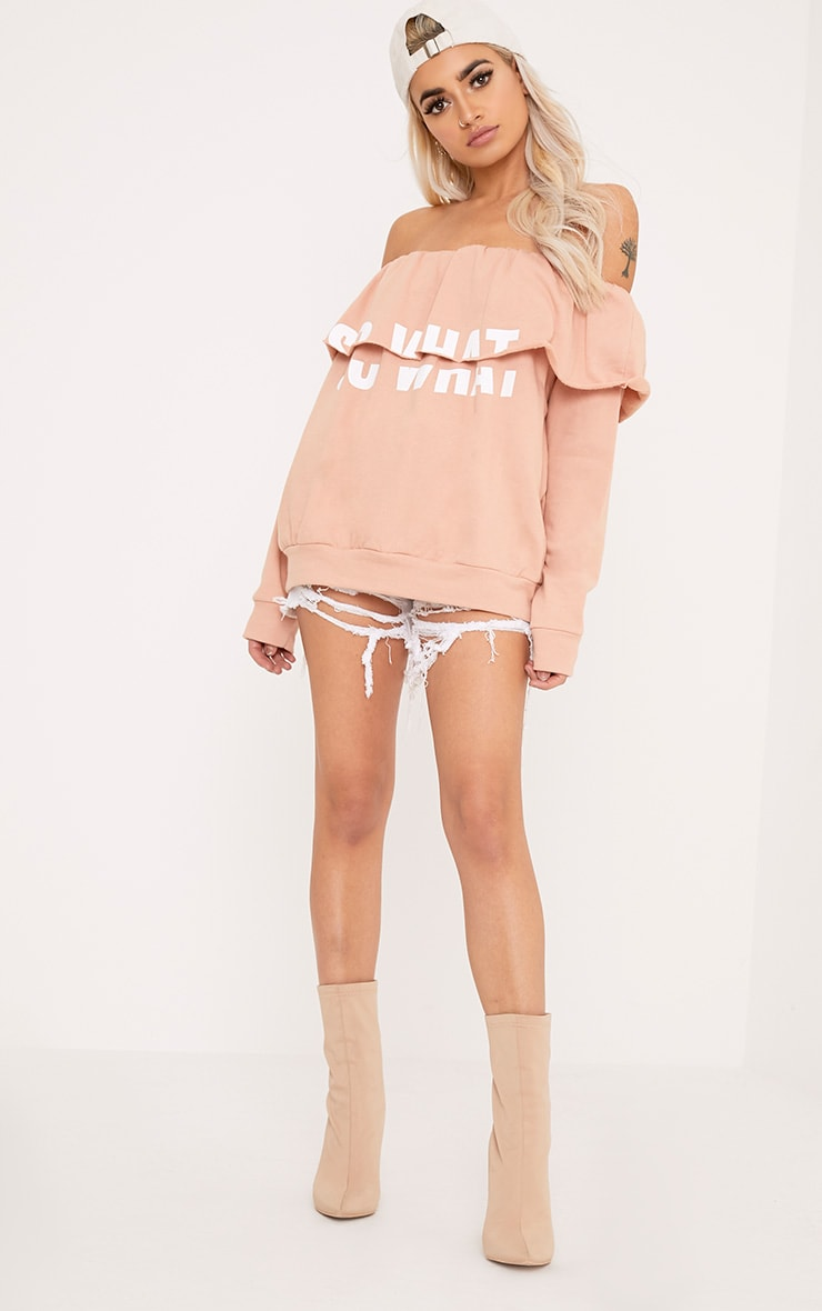 SO WHAT Slogan Dusty Coral Bardot Oversized Sweater 4