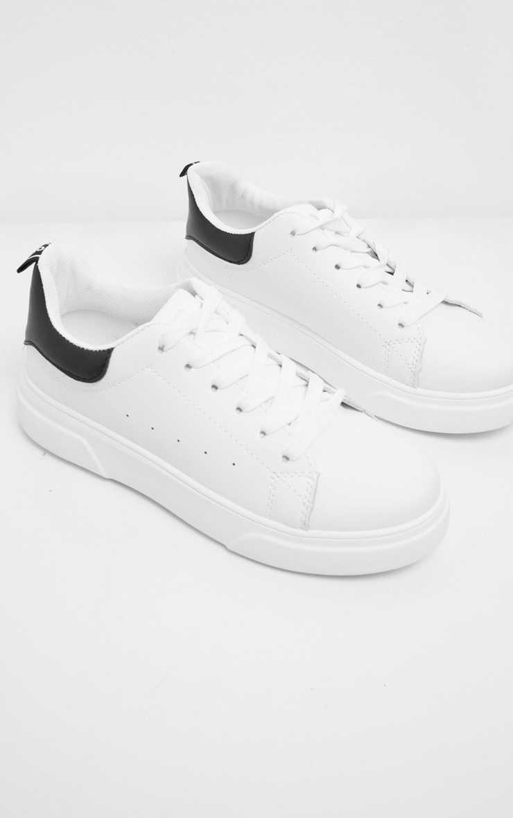 White Thick Sole Lace Up Sneakers 3