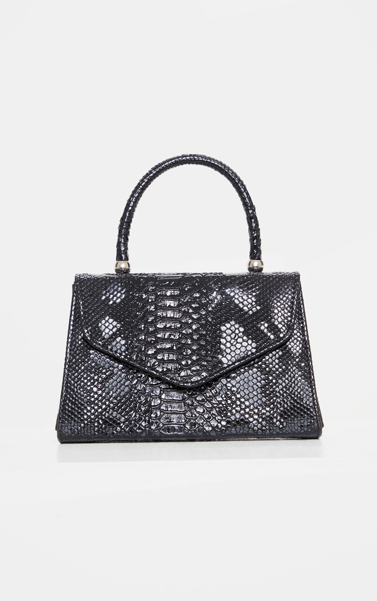 Black Croc Envelope Large Grab Bag 2