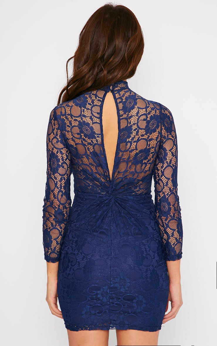 Esty Navy Lace High Neck Mini Dress  2