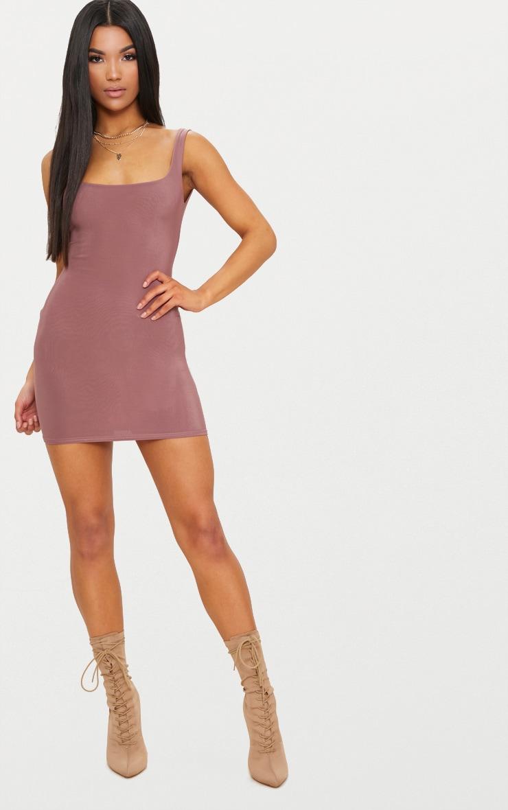 Dark Mauve Second Skin Slinky Scoop Neck Bodycon Dress 4