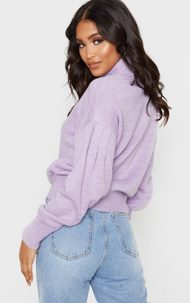 Lilac Oversized Puff Sleeve Roll Neck Sweater 2