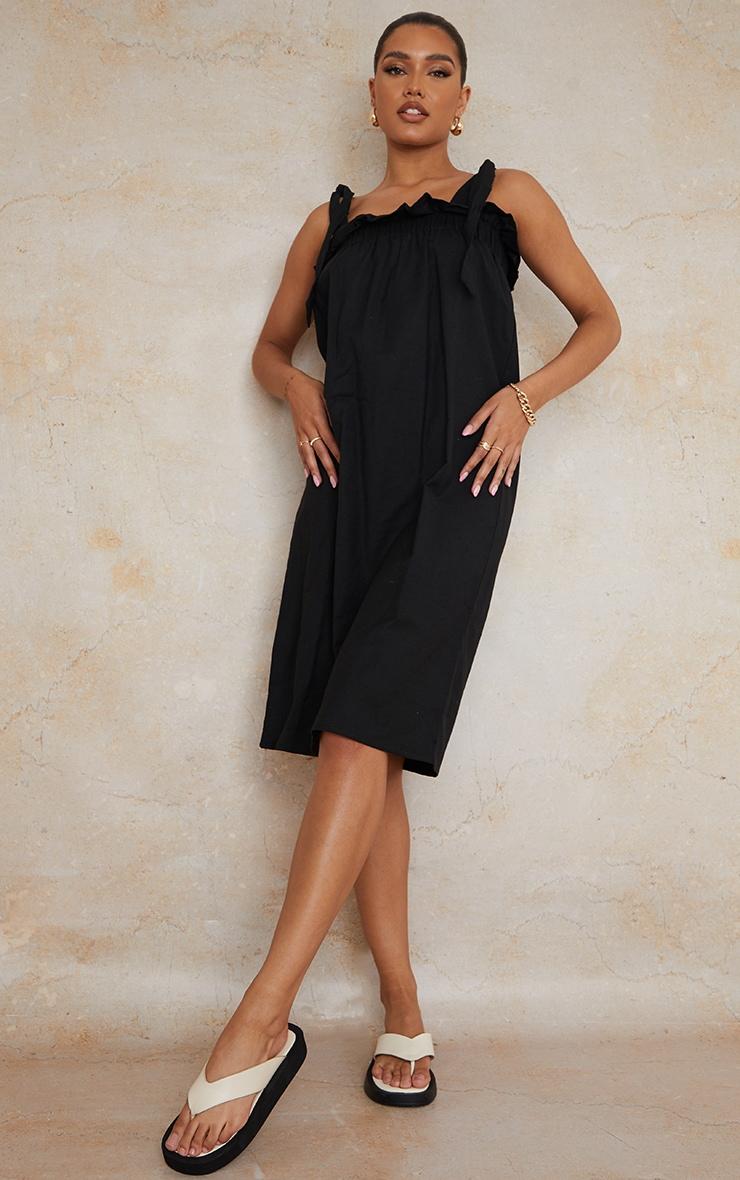 Black Linen Look Tie Strap Ruched Smock Midi Dress 3