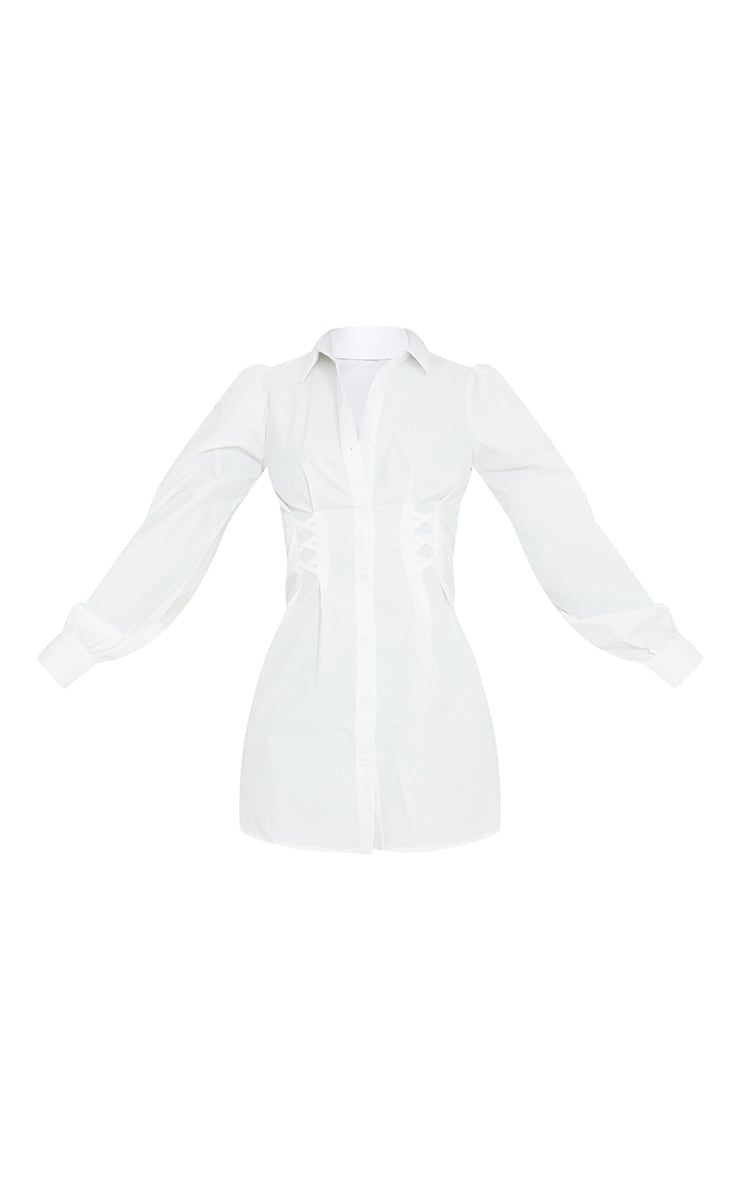 Tall White Corset Detail Long Sleeve Shirt Dress  5