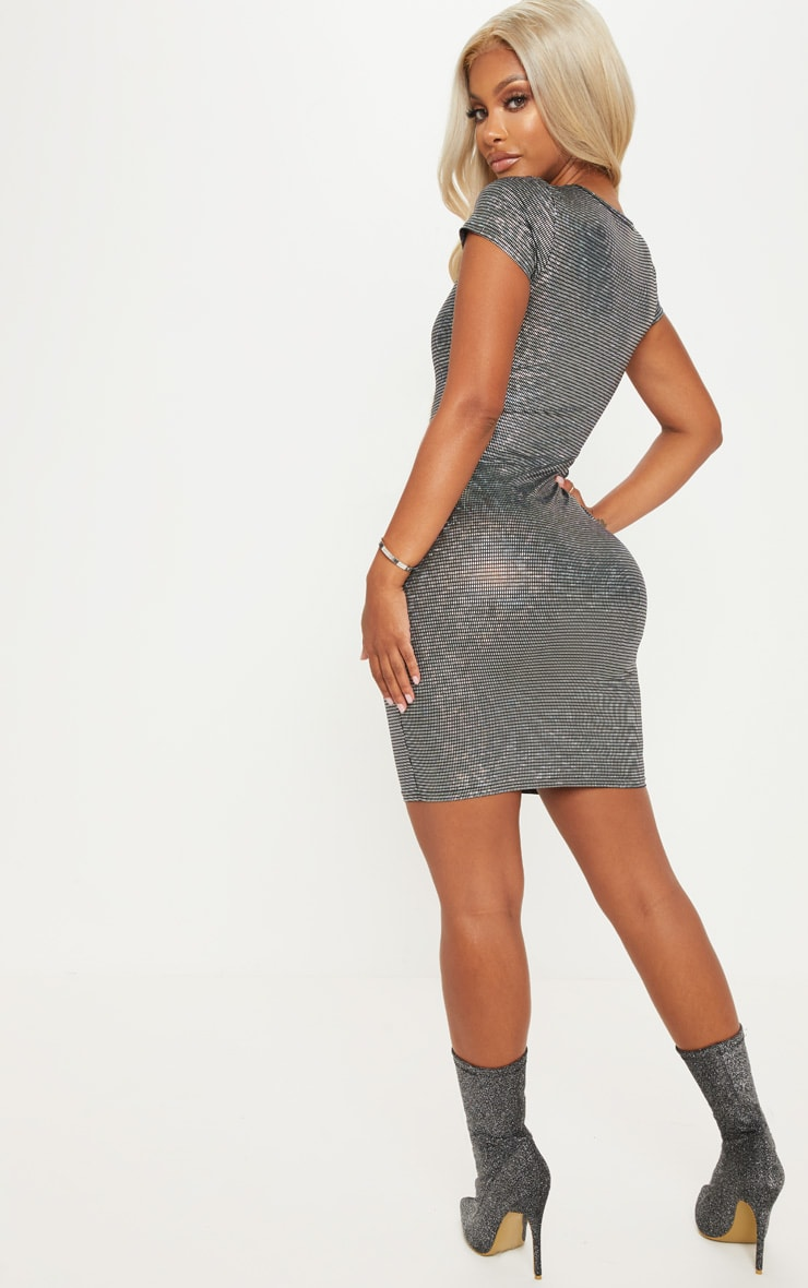 Shape Silver Disco Metallic Cap Sleeve Bodycon Dress 2