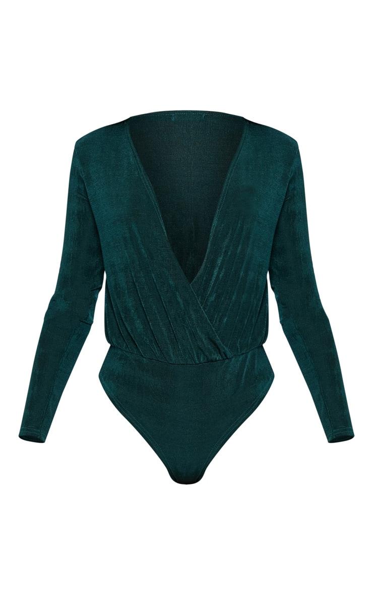 Emerald Slinky Plunge Bodysuit 3