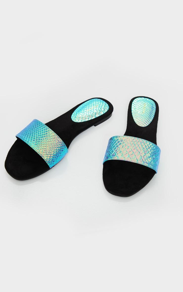 Holographic Single Strap Mule Sandals 3