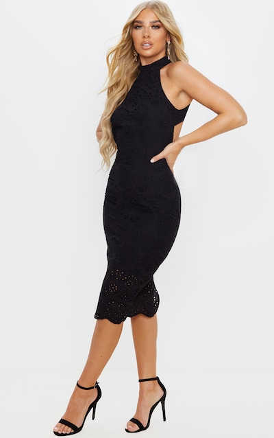 Black Crochet Lace Backless Midi Dress