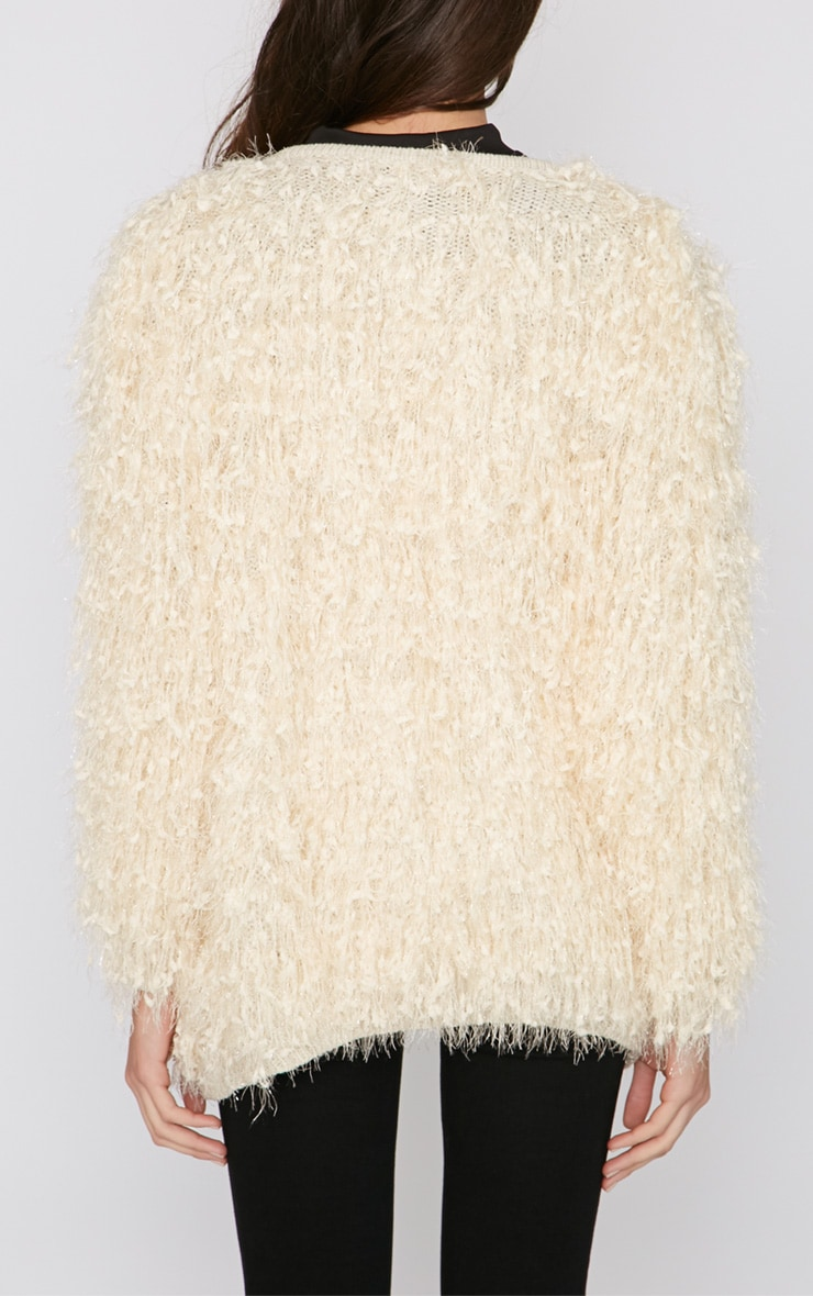 Naima Cream Shaggy Knitted Jacket 2