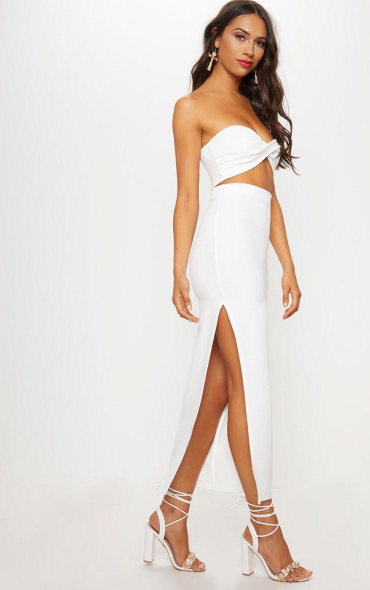 Cream Scuba Split Side Midaxi Skirt 1