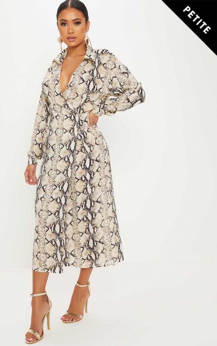 Petite Taupe Snake Print Wrap Midi Dress 1