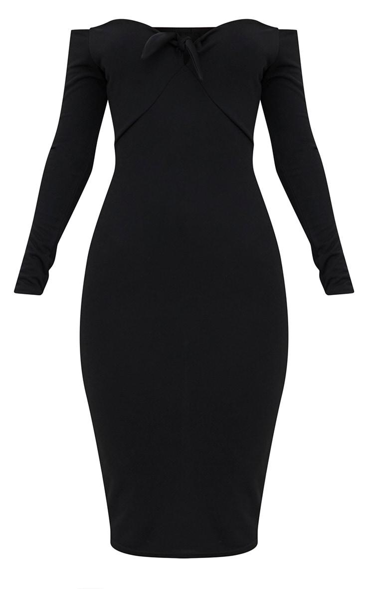 Black Bardot Tie Front Midi Dress 3