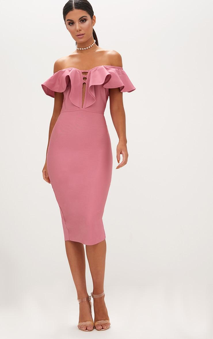 Rose Bardot Frill Lattice Detail Midi Dress 1
