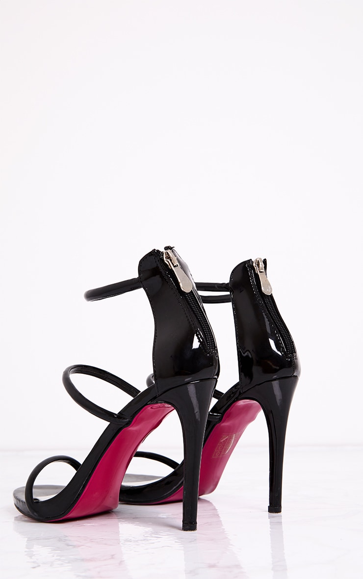 Marthea Black Tube Strap Heeled Sandals 4