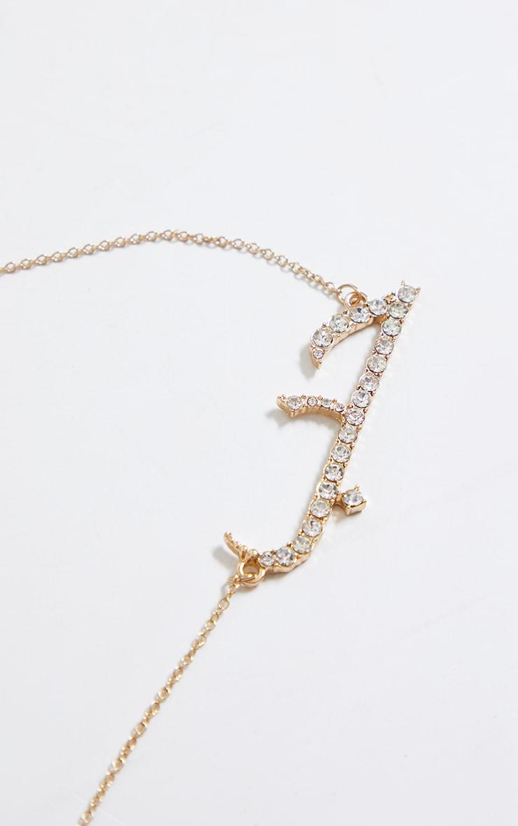 Gold Diamante Arabic Necklace 4