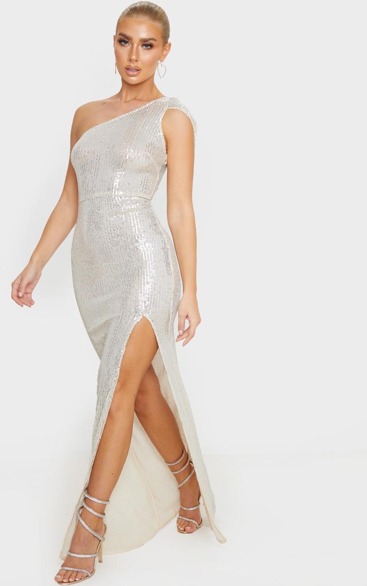 Silver Sheer Sequin One Shoulder Maxi Dress 4