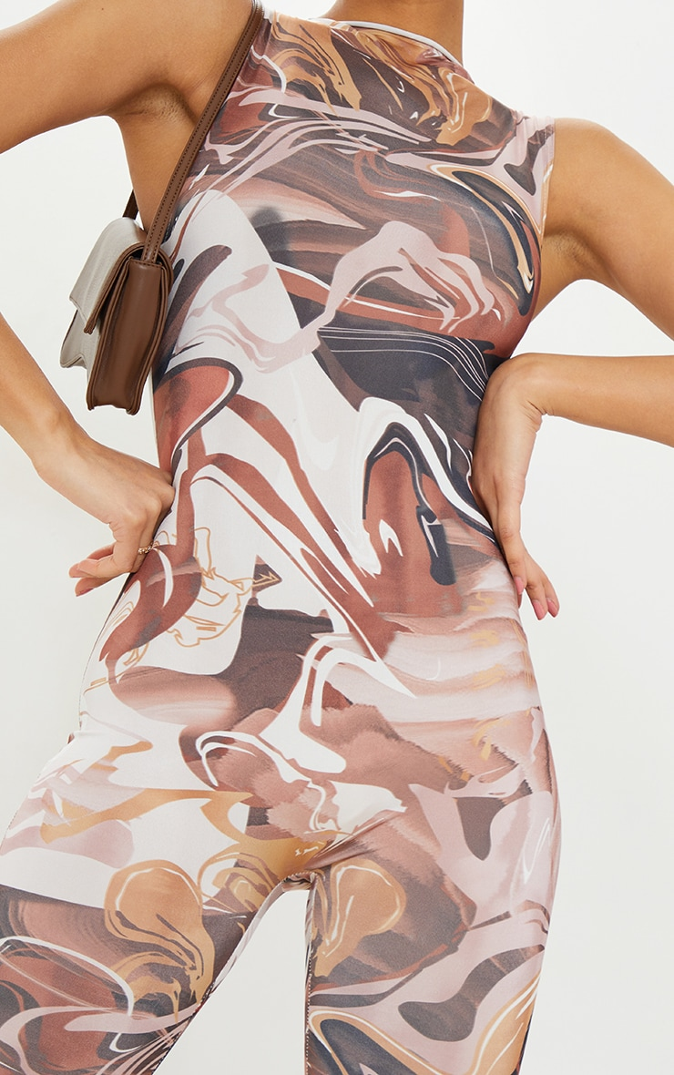 Chocolate Abstract Print High Neck Sleeveless Jumpsuit 4