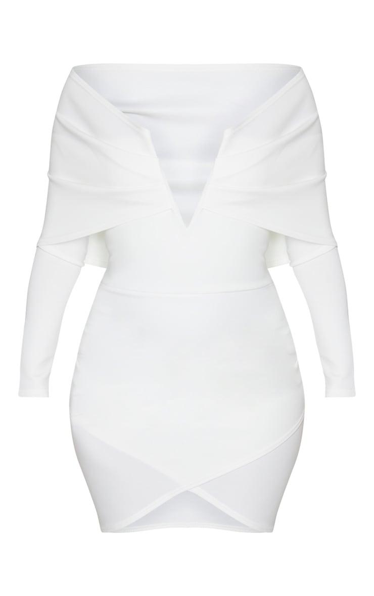 White Bardot V Bar Detail Wrap Shoulder Bodycon Dress 3