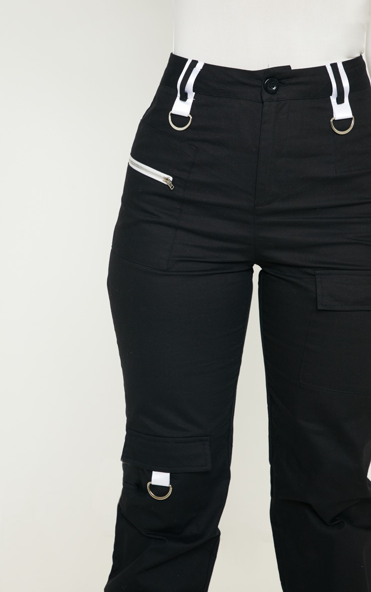 Black Pocket Zip Detail Cargo Pants 5