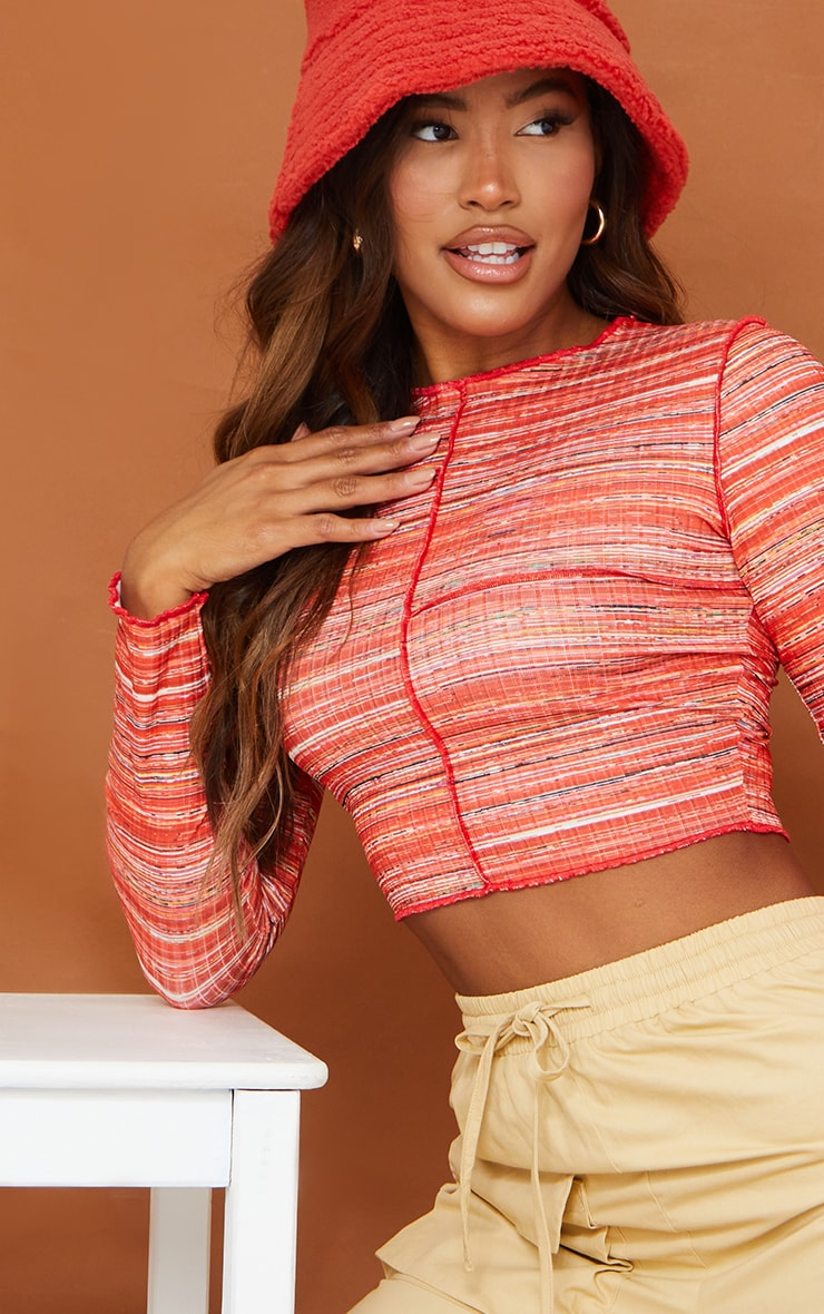 Recycled Red Space Dye Rib Frill Edge Crop Top 4
