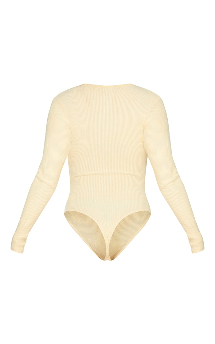 Sand Brushed Rib Button Long Sleeve Bodysuit 6