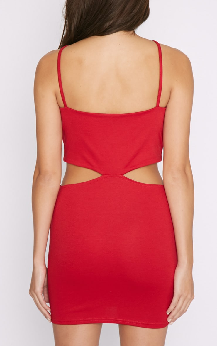 Melody Red Cut Out Plunge Mini Dress 2