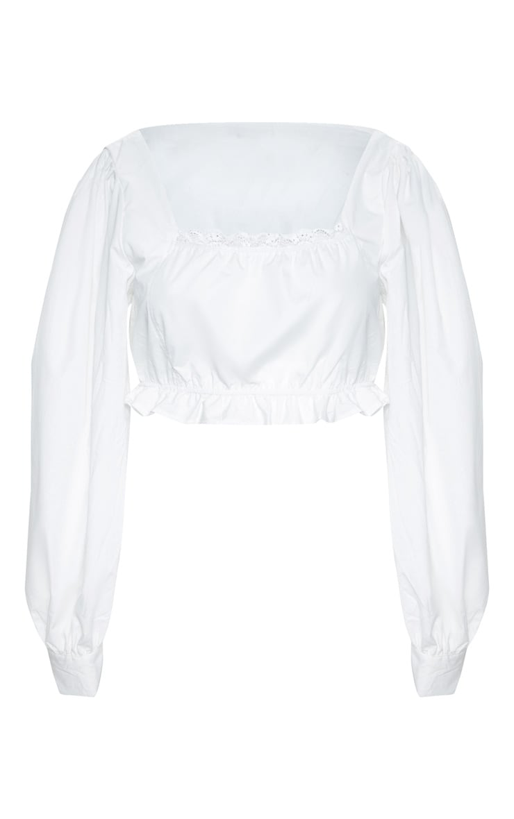 Plus White Cheesecloth Puff Sleeve Crop Top 4