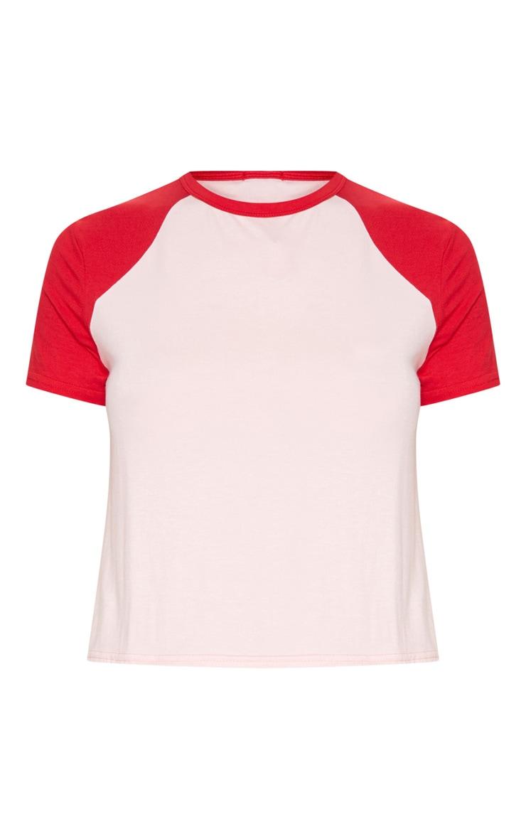 Pink Contrast Sleeve T Shirt 3