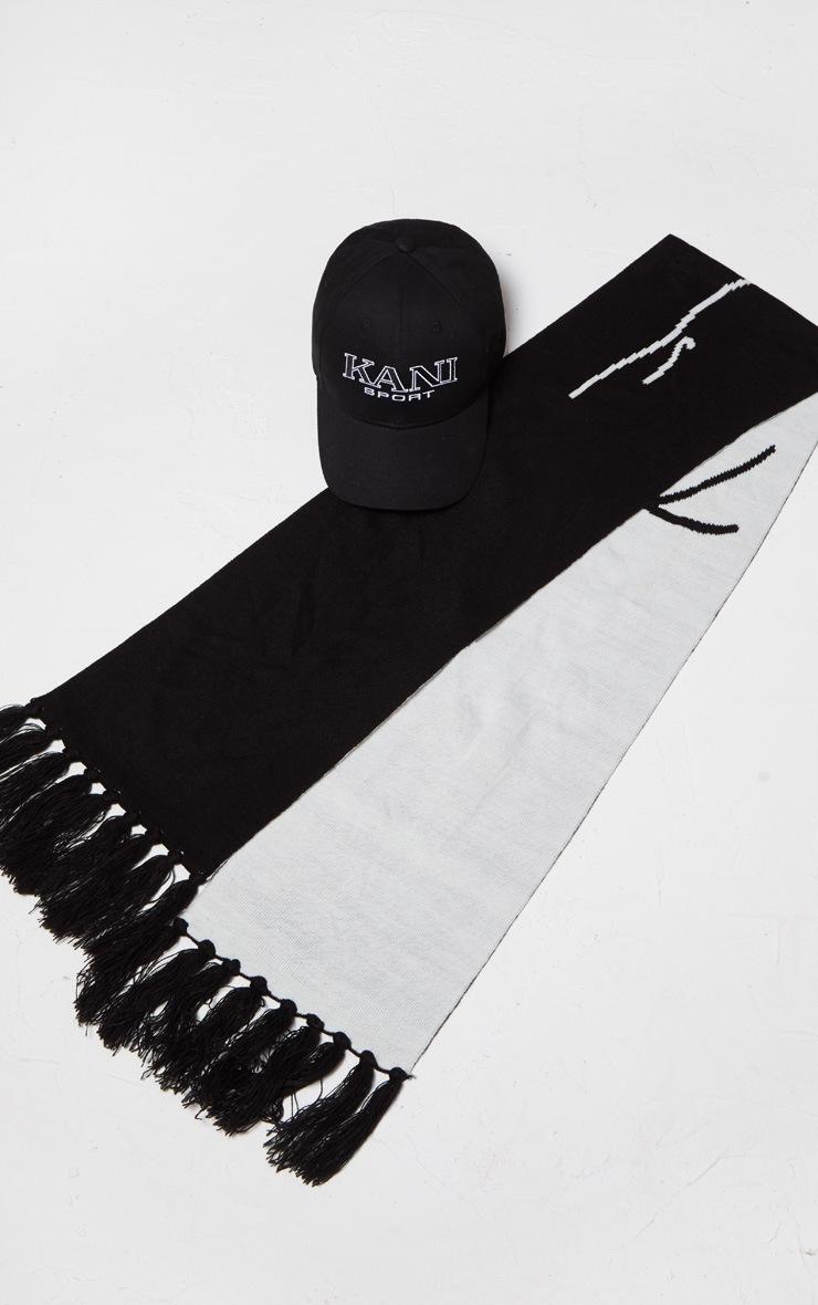 KARL KANI Black Tassel Trim Scarf 3