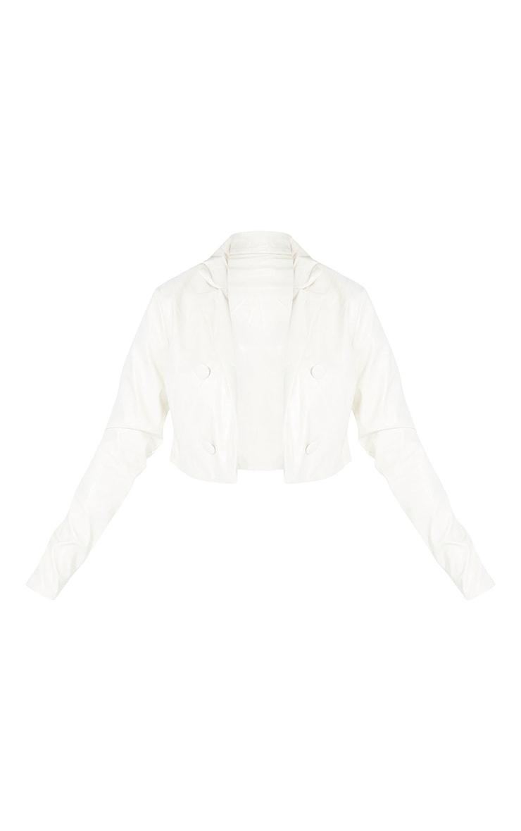 Petite Cream Cropped PU Jacket 5