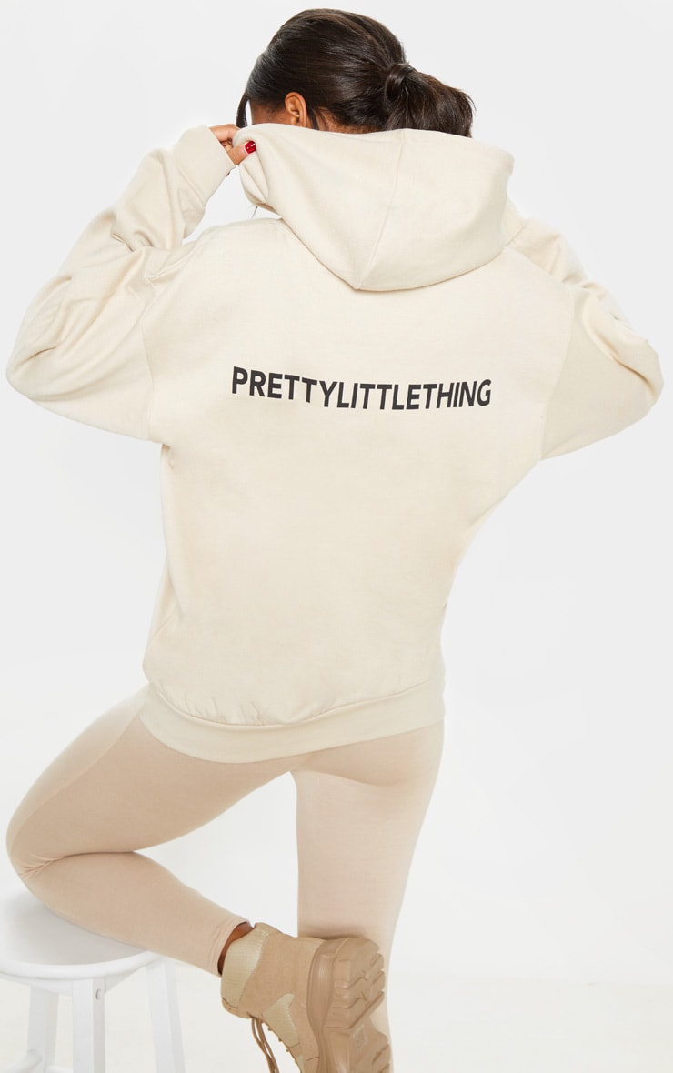 Prettylittlething Sand Slogan Back Hoodie by Prettylittlething
